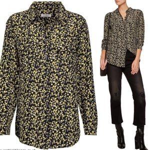 Equipment Black & Yellow Floral Silk Blouse $258